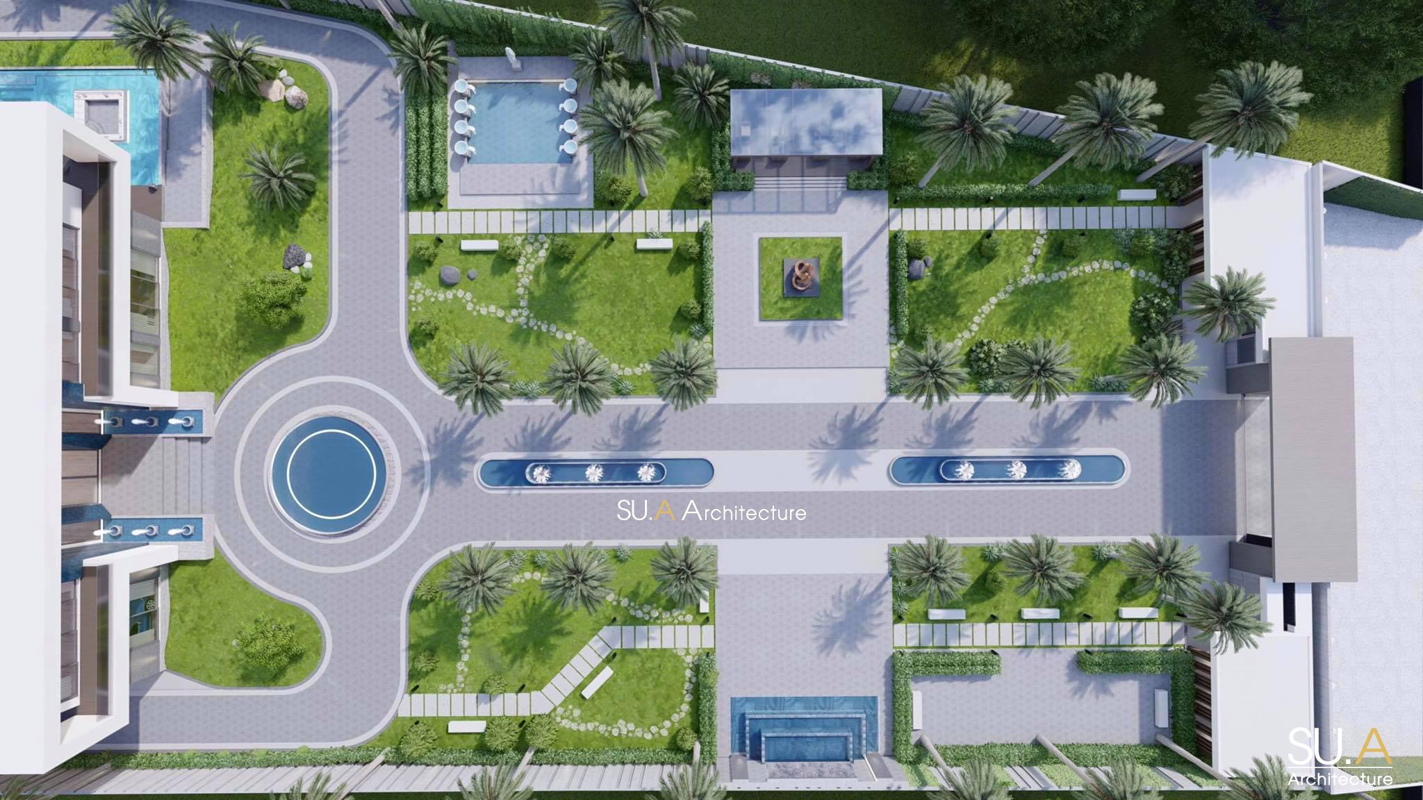 Bản vẽ phối cảnh thiết kế nhà biệt thự 2 tầng