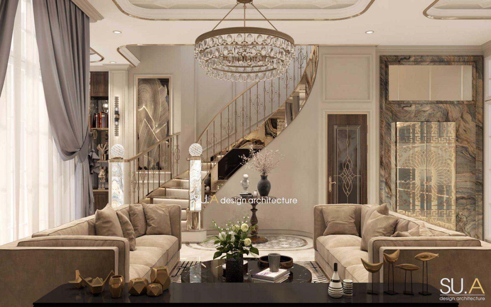 Thiết kế nội thất nội thất phòng khách tân cổ điển
