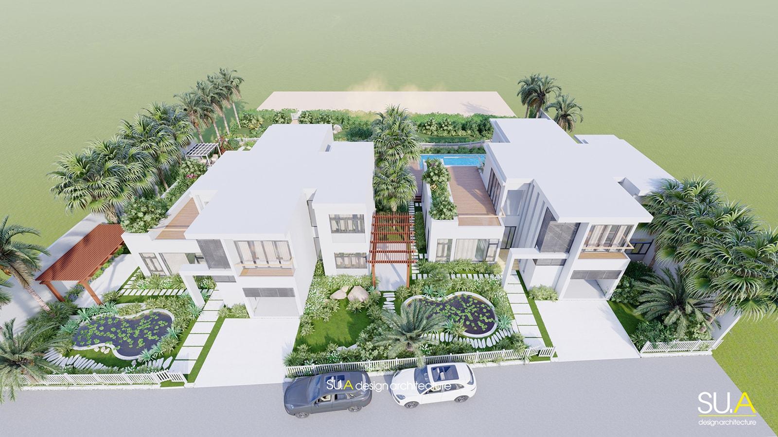 Phối cảnh mặt bằng công trình thiết kế biệt thự nghỉ dưỡng hiện đại