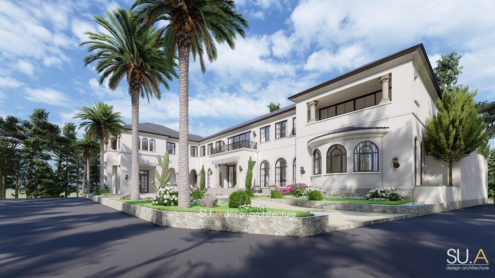 Phối cảnh kiến trúc mẫu biệt thự phong cách Địa Trung Hải