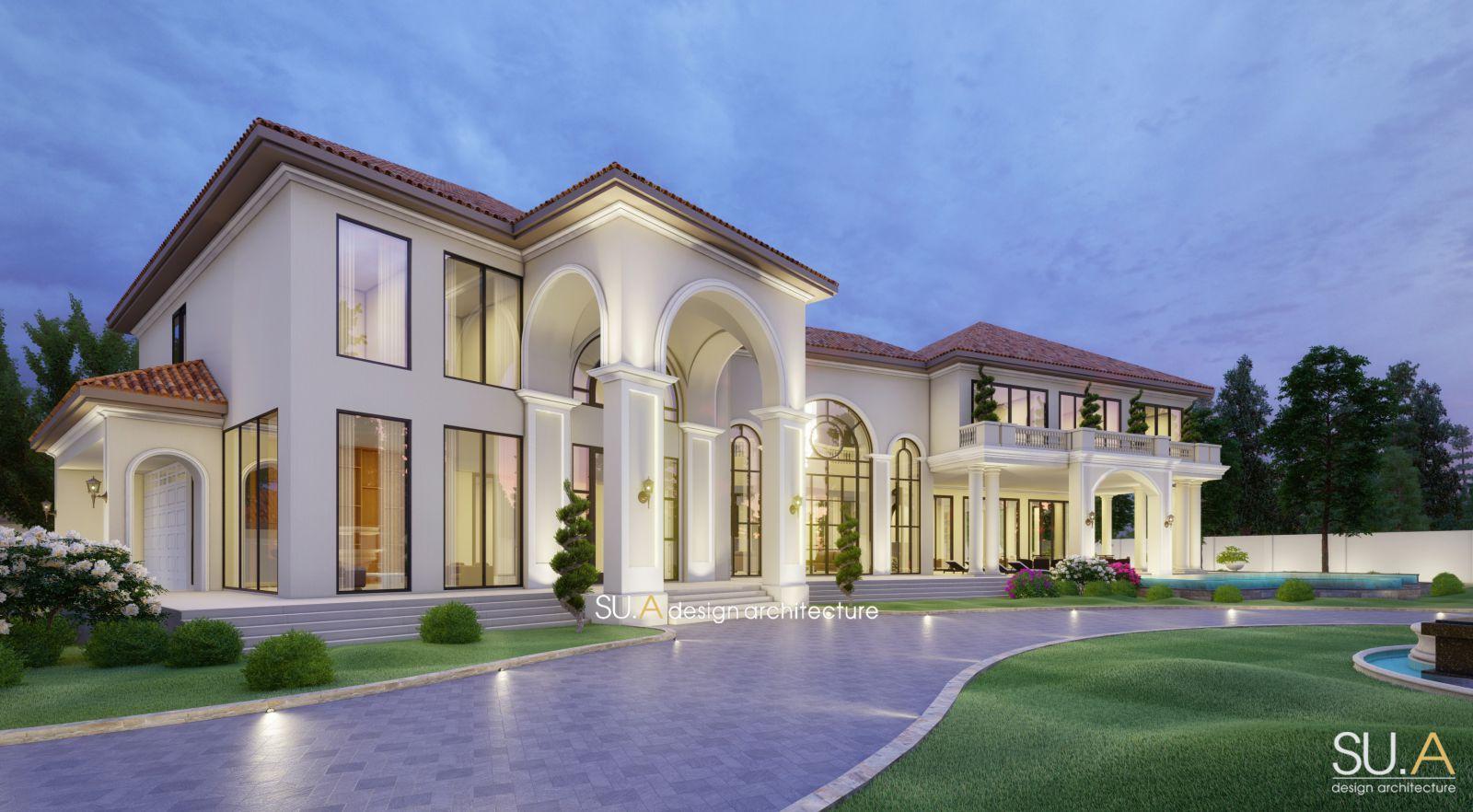 Phối ảnh thiết kế 3D biệt thự Địa Trung Hải