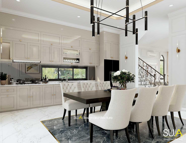 Thiết kế nội thất phòng bếp biệt thự tân cổ điển 2 tầng