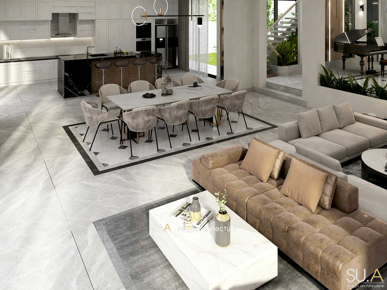 Thiết kế nội thất phòng khách bếp biệt thự hiện đại
