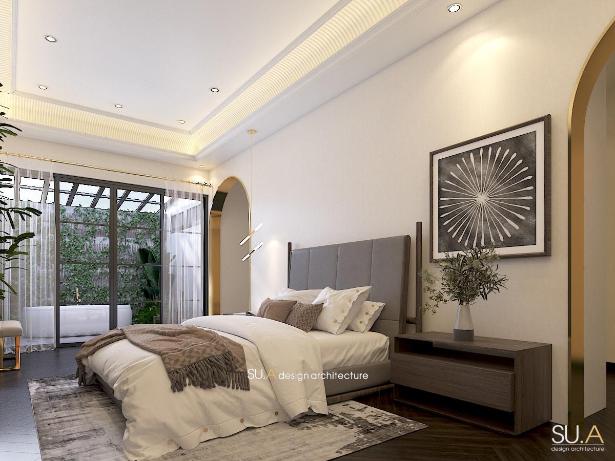 Không gian nội thất phòng khách của biệt thự Địa Trung Hải