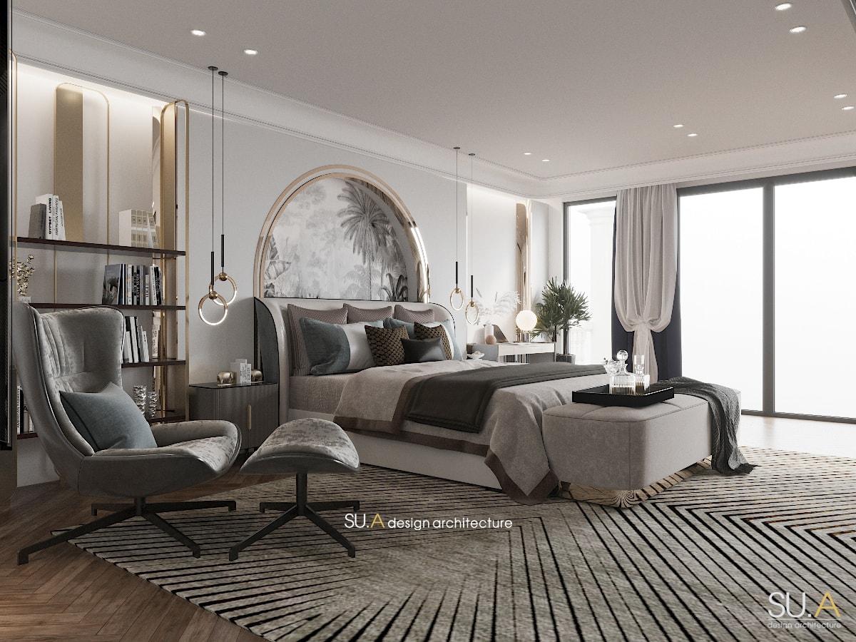Không gian nội thất phòng ngủ của biệt thự Địa Trung Hải