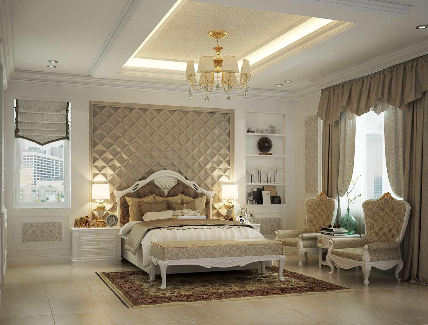 Không gian phòng ngủ trong biệt thự tân cổ điển