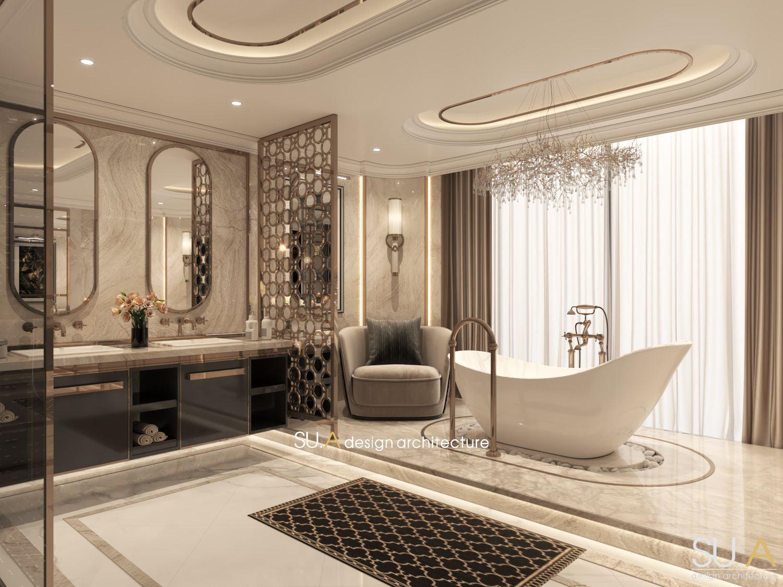 Thiết kế phòng tắm của biệt thự Địa Trung Hải