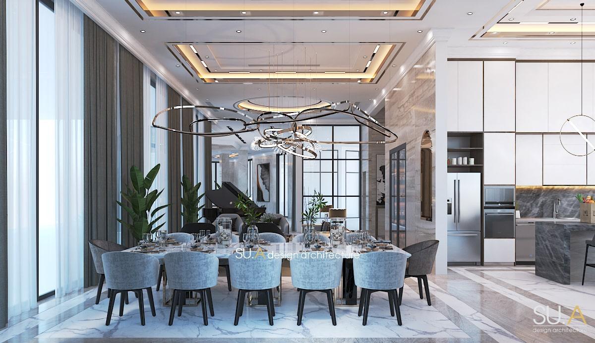 Thiết kế phòng bếp ăn của biệt thự Địa Trung Hải