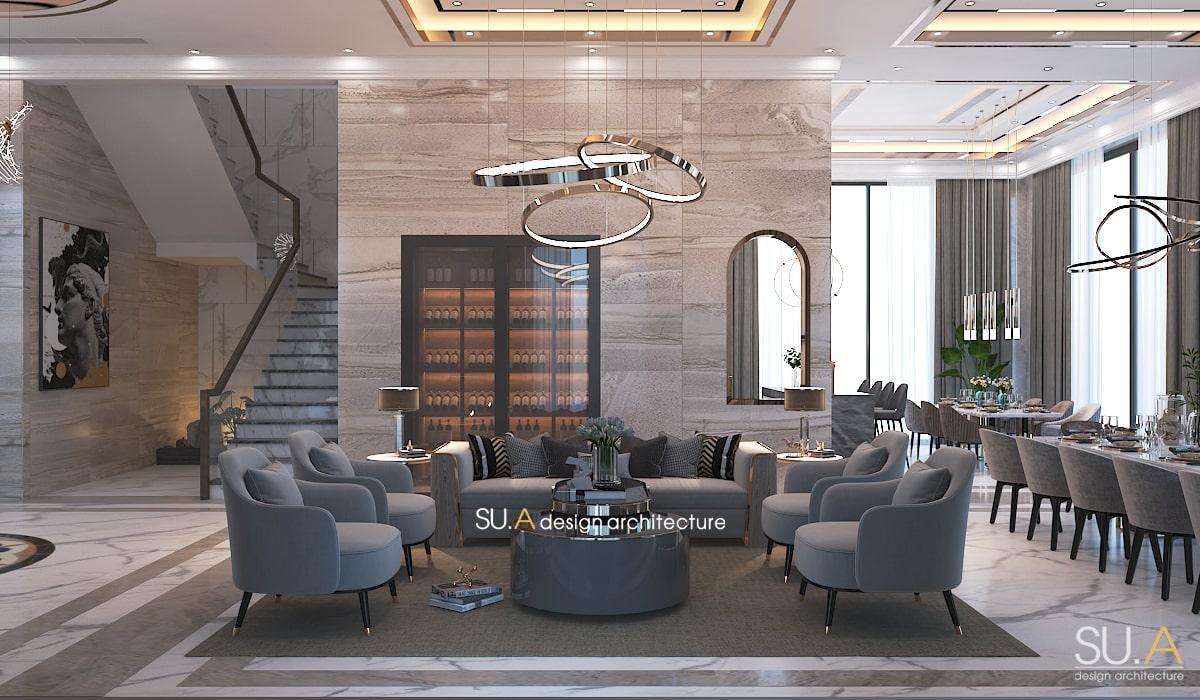 Thiết kế phòng khách của biệt thự địa trung hải